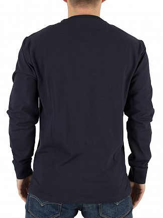 Original Penguin Dark Sapphire Longsleeved Raised Rib Logo T-Shirt