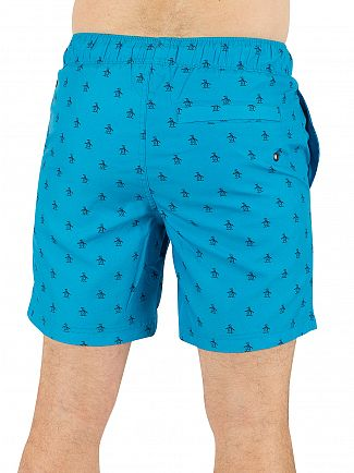 Original Penguin Diva Blue Re-Pete Elastic Volley All Over Logo Swimshorts