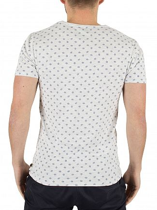 Scotch & Soda Light Grey Marl All Over Leaf Pattern Classic T-Shirt