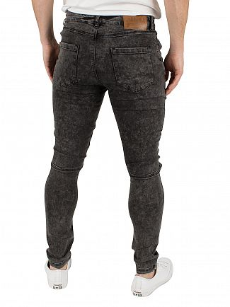 Sik Silk Black Acid Wash Extreme Biker Ripped Skinny Jeans