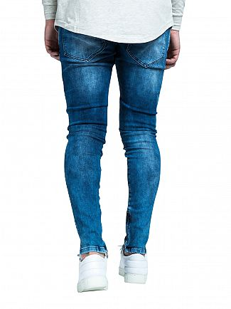 Sik Silk Midstone Blue Repaired Low Rise Denim Jeans