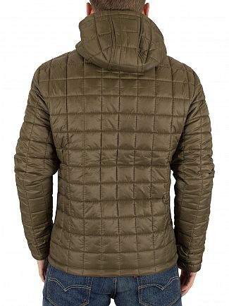 Superdry Olive Box Quilt Fuji Logo Hooded Puffa Jacket