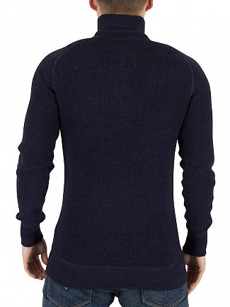Superdry French Navy Marl Gymnasium Textured Henley Knit