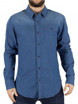 HILFIGER DENIM MID INDIGO BASIC REG DENIM LOGO SHIRT