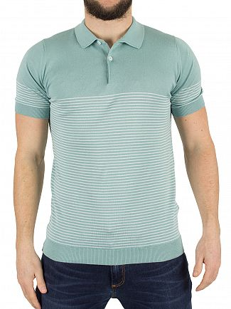 John Smedley Terrill Green Kiefer Striped Polo Shirt Knit