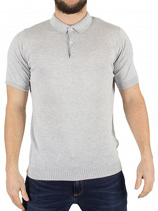 JOHN SMEDLEY FEATHER GREY RHODES POLO SHIRT KNIT