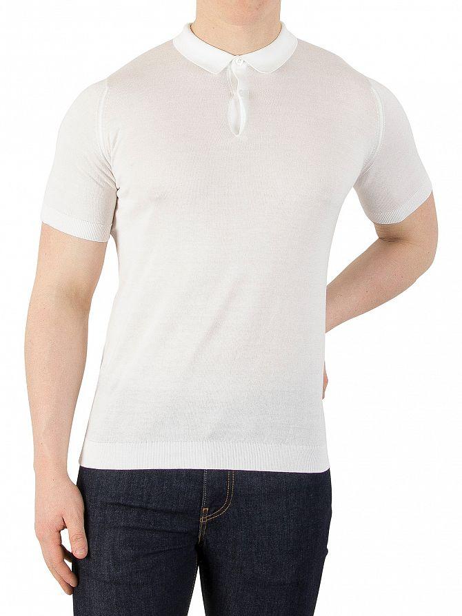 John Smedley White Rhodes Polo Shirt Knit