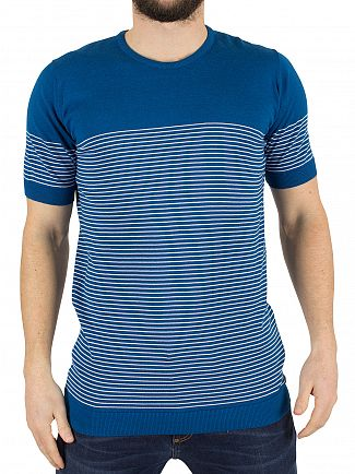 John Smedley Stevens Blue Zester Striped Knit T-Shirt