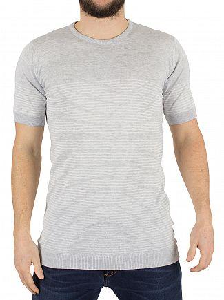 John Smedley Feather Grey Zester Striped Knit T-Shirt