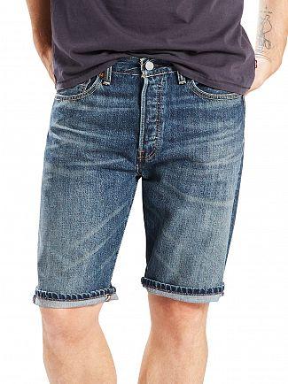 Levi's Mid Blue 501 Hemmed Winner Denim Shorts