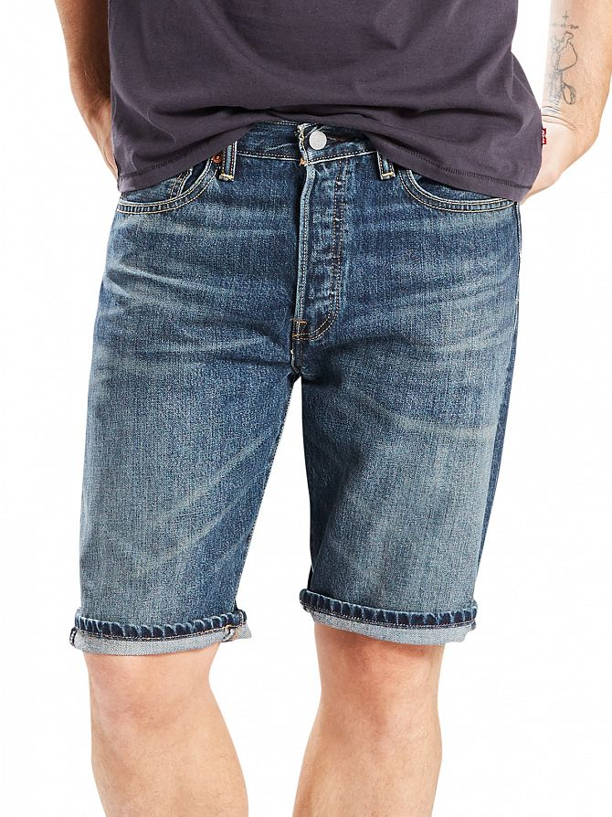 Levi's Mid Blue 501 Hemmed Winner Denim Shorts
