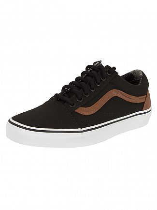 VANS BLACK/MATERIAL MIX OLD SKOOL C&L TRAINERS