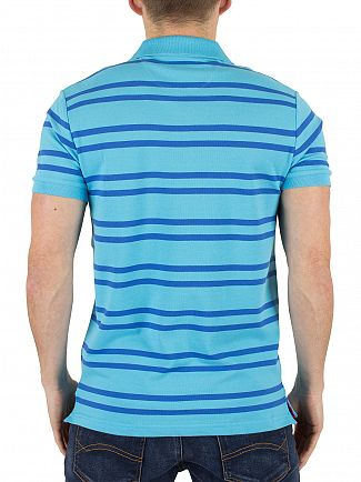 Gant Sage Blue Striped Contrast Pique Logo Rugger Polo Shirt