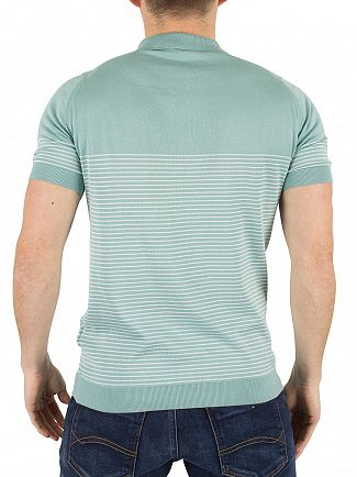 John Smedley Terrill Green Kiefer Striped Polo Shirt Knit