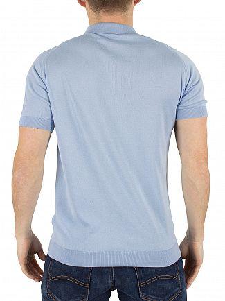 John Smedley Hayward Blue Rhodes Polo Shirt Knit