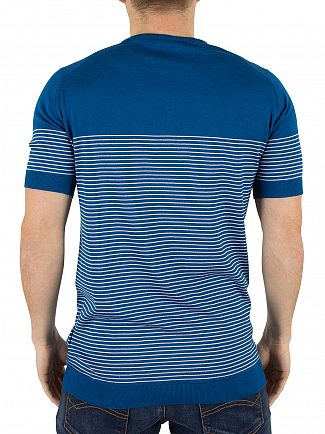 John Smedley Stevens Blue Zester Striped Knit T-Shirt