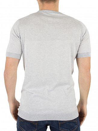 John Smedley Feather Grey Zester Striped Knit T-Shirt