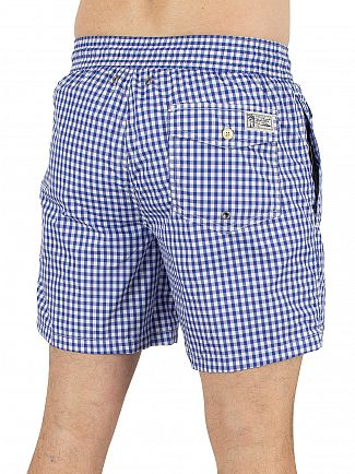 Polo Ralph Lauren Blue Sapphire Traveller Gingham Logo Swim Shorts