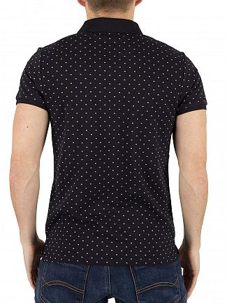 Scotch & Soda Navy Classic All Over Pattern Polo Shirt