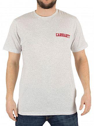 Carhartt WIP Ash Grey/Chili College Script Marled Logo T-Shirt