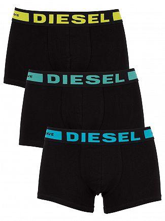 Diesel Black 3 Pack Logo Waistband Trunks