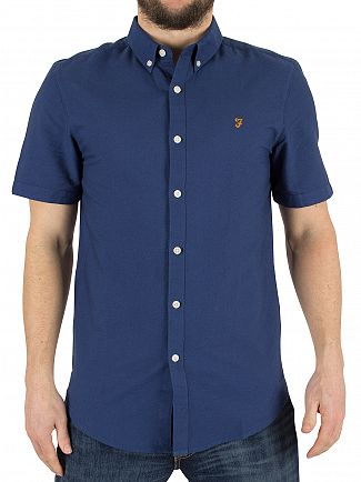 Farah Vintage Regatta Blue Brewer Slim Fit Shortsleeved Shirt