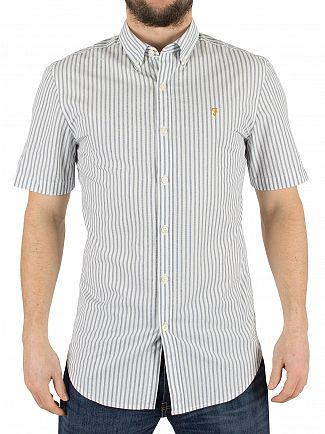 Farah Vintage Regatta Blue Sydling Slim Fit Striped Short-sleeved Shirt