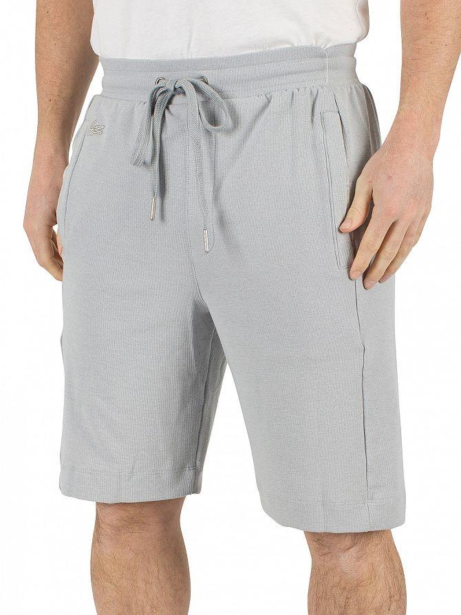 Lacoste Silver Grey Melange Logo Pyjama Sleep Shorts