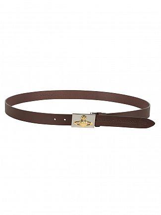 Vivienne Westwood Brown Orb Logo Buckle Belt