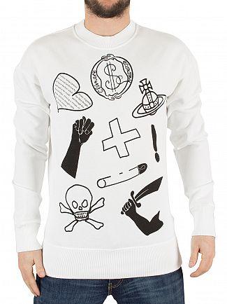 Vivienne Westwood White News Logo Mix Sweatshirt
