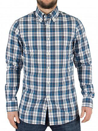 Tommy Hilfiger Sapphire/Classic White/Multi Stewart Checked Slim Fit Logo Shirt
