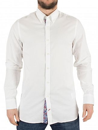 Tommy Hilfiger Classic White Floral Detailed Slim Fit Oxford Logo Shirt