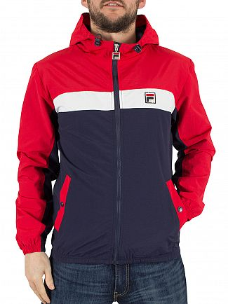 Fila Vintage Chinese Red Clipper Hooded Colour Block Logo Jacket