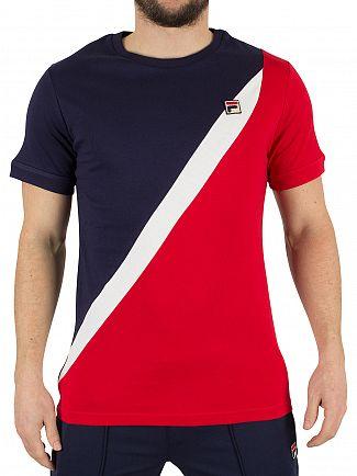 Fila Vintage Peacoat Cane Assym Diagonal Panel Logo T-Shirt
