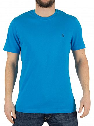 Original Penguin Diva Blue Pinpoint Jersey Logo T-Shirt