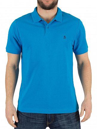 Original Penguin Diva Blue Raised Rib Slim Fit Logo Polo Shirt