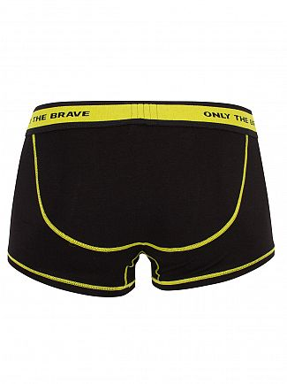 Diesel Black/Lime Fresh & Bright Logo Trunks