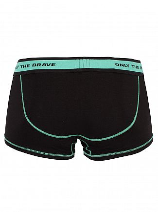 Diesel Black/Green Fresh & Bright Logo Trunks