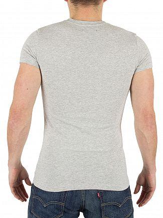 Emporio Armani Grey Melange Slim Fit Marled Logo T-Shirt