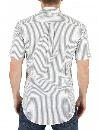 Farah Vintage Regatta Blue Sydling Slim Fit Striped Shortsleeved Shirt