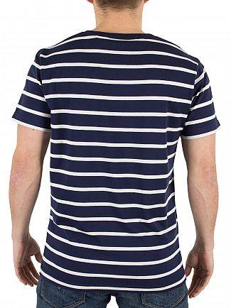 Gant Shadow Blue Breton Striped Logo T-Shirt