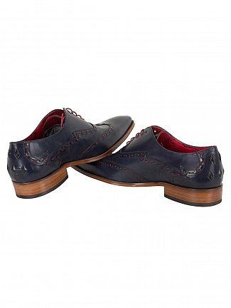 Jeffery West Tequila Dark Blue/Tira 1'5 Burgundy Scarf Leather Shoes