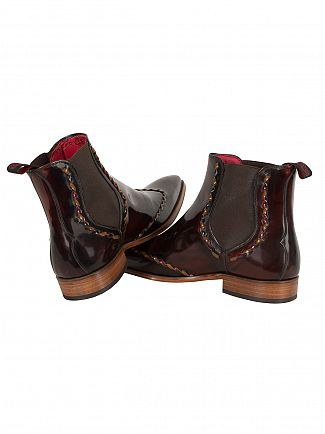 Jeffery West College Mid Brown/Honey Scarf Polished Chelsea Boots