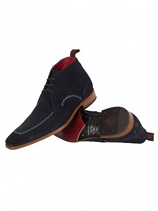Jeffery West Ante Vac Dark Blue/Para Tir Dark Blue Scarf Suede Shoes