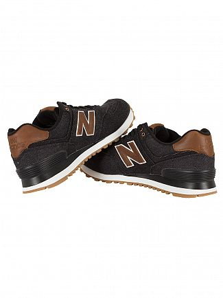 New Balance Black/Brown 574 Trainers