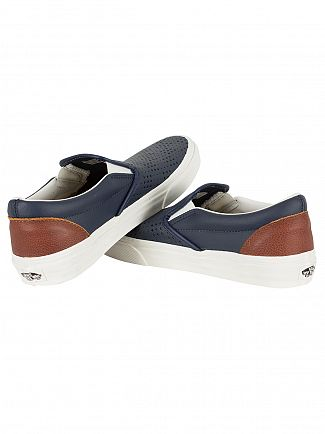 Vans Dress Blue Classic Leather Slip-On Trainers