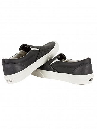 Vans Black Classic Leather Slip-On Trainers