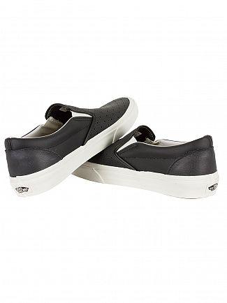 Vans Black Classic Leather Slip-On Trainers