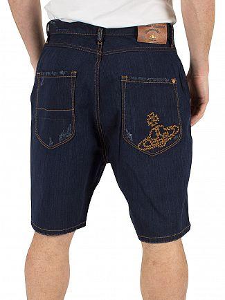 Vivienne Westwood Dark Wash Shady Asynmetric Short Calzoncini Denim Shorts