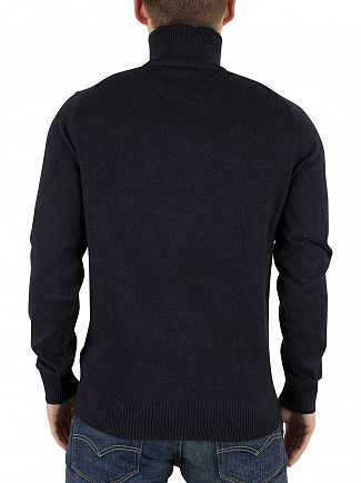 Tommy Hilfiger Midnight Heather Linen Zip Up Turtle Neck Knit